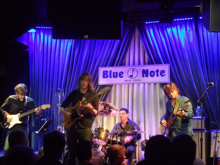 From left to right: Eric Johnson, Mike Stern, Anton Fig, and Chris Maresh performed an invigorating set at the Blue Note Jazz Club on August 17, 2013.