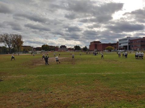 The Bergen Tech football team practicing on Thursday, October 17th.