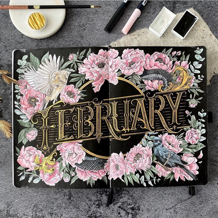 The+February+cover+page+by+Tiia%2C+a+Bullet+Journal+influencer+with+11.4k+followers+on+Instagram.+%0ACredit%3A+Tiia+%28Instagram%3A+%40archaic_noctuary%29+%0A