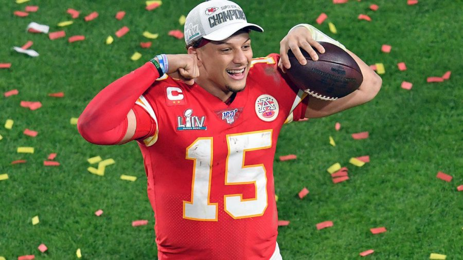 Mahomes+celebrates+the+Chiefs%E2%80%99+victory+in+the+Super+Bowl+%28photo+from+CBS+Sports%29.