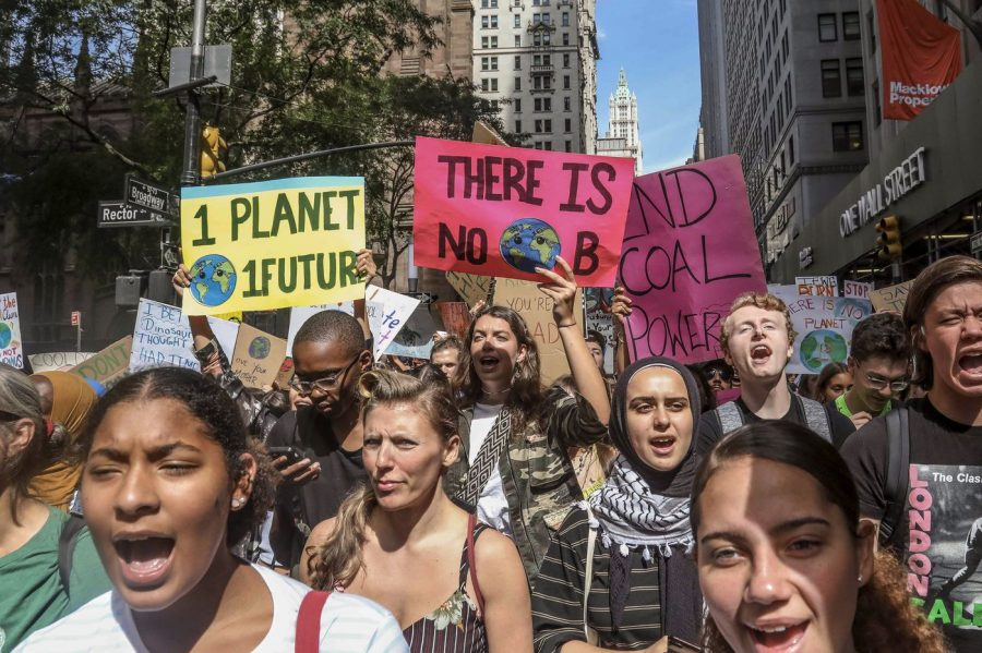 Climate change activists participating in an environmental demonstration as a part of a global youth-led day of action in New York on Sept. 20, 2019.